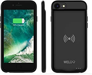 WELUV Wireless Charging Case for iPhone 8 Plus 7 Plus 6s Plus 6 Plus Portable 4000mAh Rechargeable Protective Qi Charging Case Extended Battery Pack Backup Charger Case Black