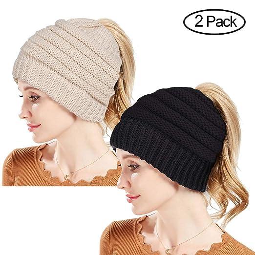 5899827f90d Amazon.com  Rosoz Winter Ponytail Beanie for Women
