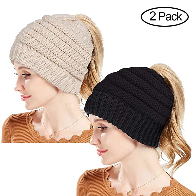 139d5d390 Rosoz Winter Ponytail Beanie for Women,Warm Beanie Tail Soft Stretch Cable  Knit Messy High Bun Beanie Hat Cap