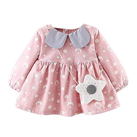 New Girls Dress Long Sleeves Pink Polka Dots Autumn Birthday Party Kids Clothes