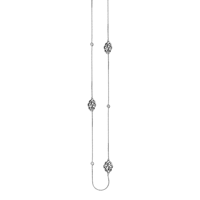 Ss Long Lngth Cz Wht//Blk Rhod Neck 36 DiamondJewelryNY Silver Pendant