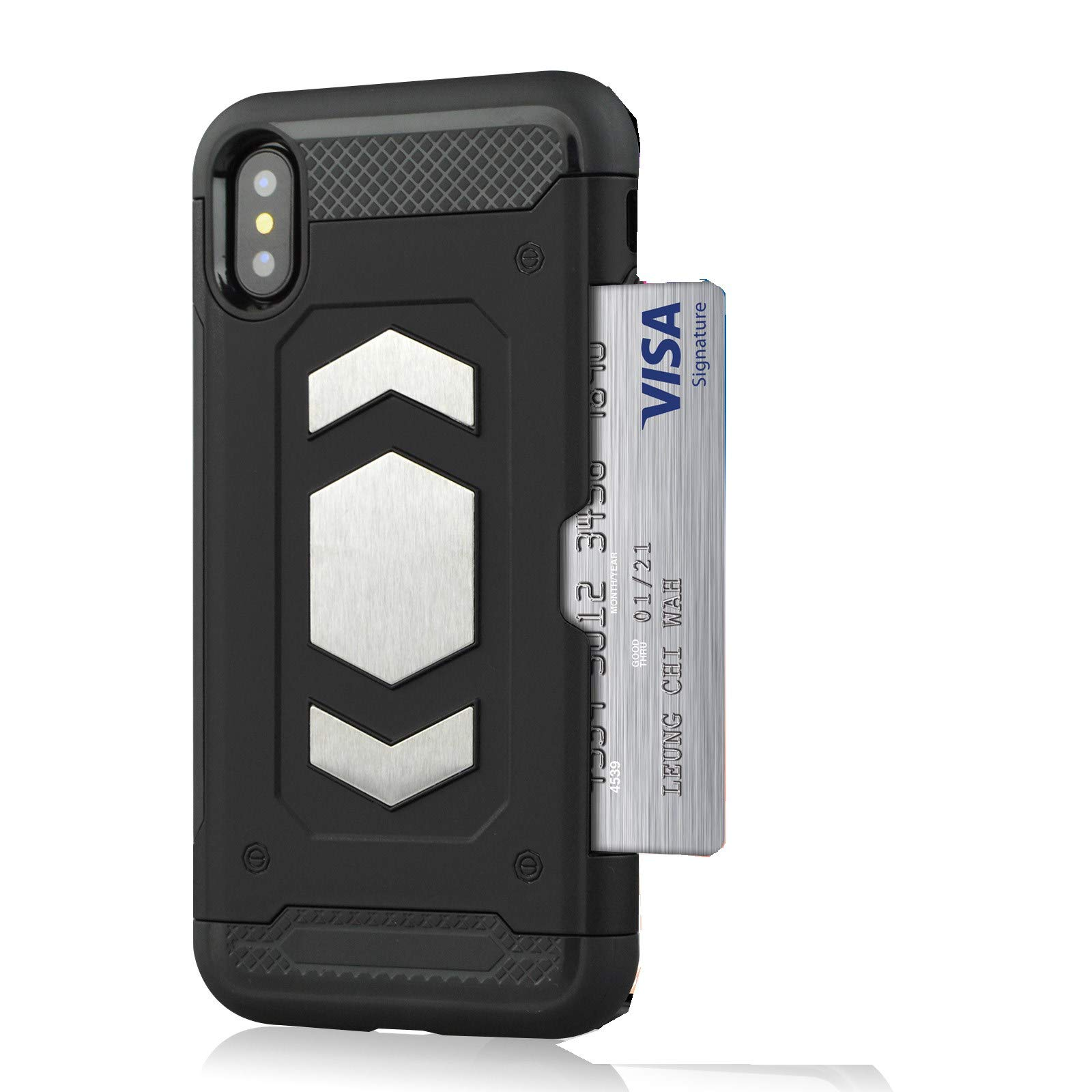 i Phone X Wallet Case, Slim Armor Shockproof Heavy Duty Protection Dual Layer TPU&PC Hybrid Case Cover with Card Slot Car Mount Holder Thin Case for i Phone XS (1, iPhone X) by 22miter