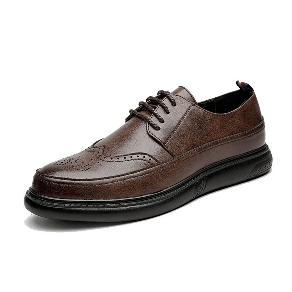 HYF Men's Oxfords Flat Heel Pointed Toe Lace up Brogue Pattern Business Casual Shoes Dress Shoes Business Shoes for Men (Color : Brown, Size : 7.5 D(M) US)