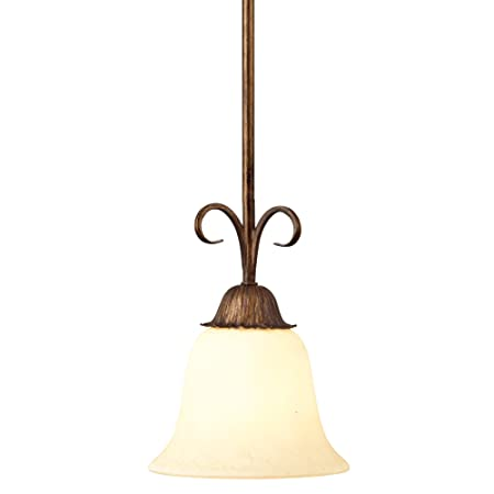 Westinghouse Lighting 6220900 Regal Springs One-Light Interior Pendant, Ebony Gold Finish with Burnt Scavo Glass