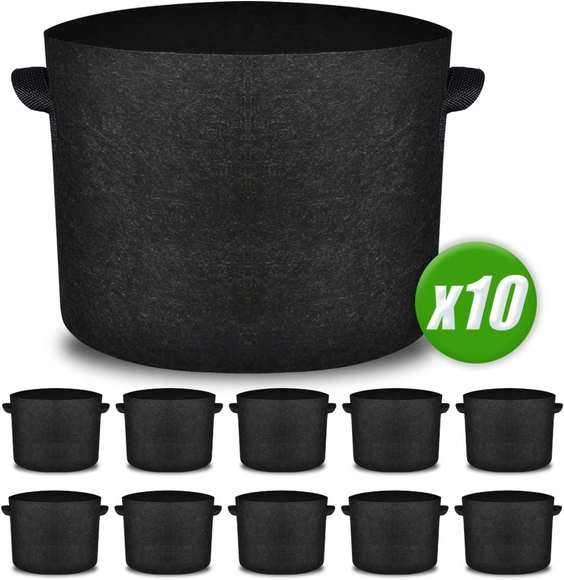 Upgraded 10 Pack 10 Gallon Grow Bags, Heavy Duty Non-Woven Fabric Plant Pots with Strong Handles, Vegetable Flower Growing Containers