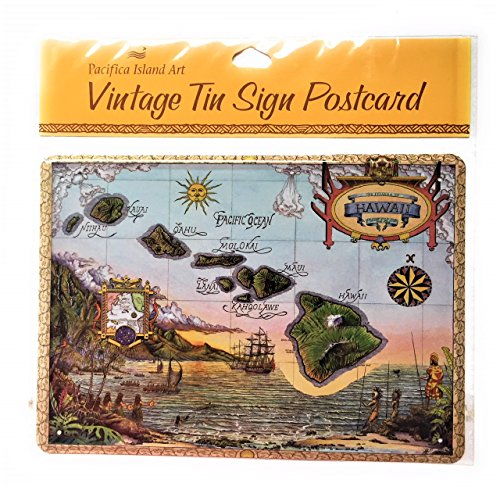 Vintage Tin Sign Postcard - Map of the Hawaiian Islands