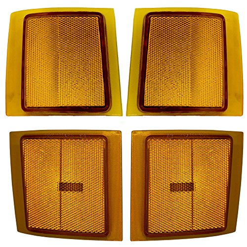Driver and Passenger Upper and Lower Signal Side Marker Light Lamp Set Replacement for Chevrolet SUV Pickup (Marker Lamp Set)