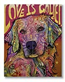 Dean Russo Love is Golden Printed on 11x14 Wood Pallet Slats Wall Art Sign Plaque Distressed Design