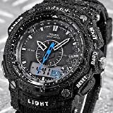 OHSEN LCD Dual Core Men's Date Day Stopwatch Rubber Band Dive Sport Quartz Wrist Watches - Black - JUST ARRIVE!!!