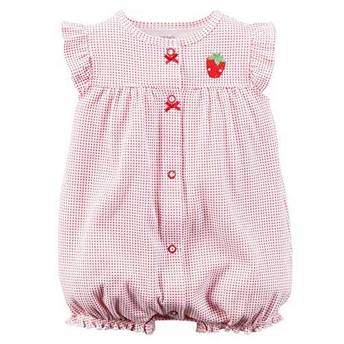 Carter's Baby Girls' Cotton 1-piece Snap-Up Romper (24 Months, Red Strawberry)