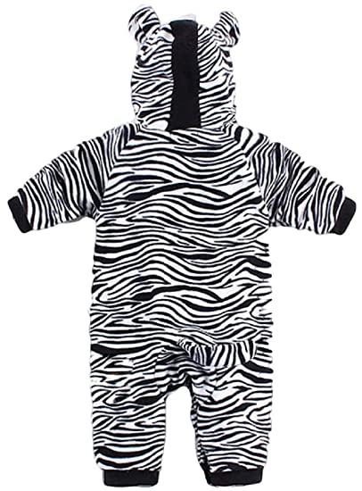 23bd370bb Amazon.com: Baby Toddler Girls Boys Black White Zebra Animal Print Hooded  Snowsuit Halloween Fancy Dress Costume Outfit: Clothing