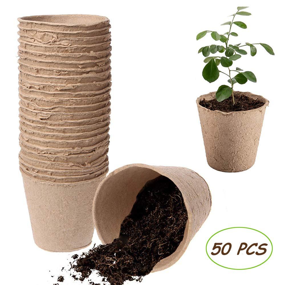 Kalolary Peat Pots, 50 PCS 3 Inch Plant Starters Biodegradable Peat Pots for Seedlings, Seedling Saplings Herb Gardening Vegetable Tomato Seed Germination Organic Plant Starters