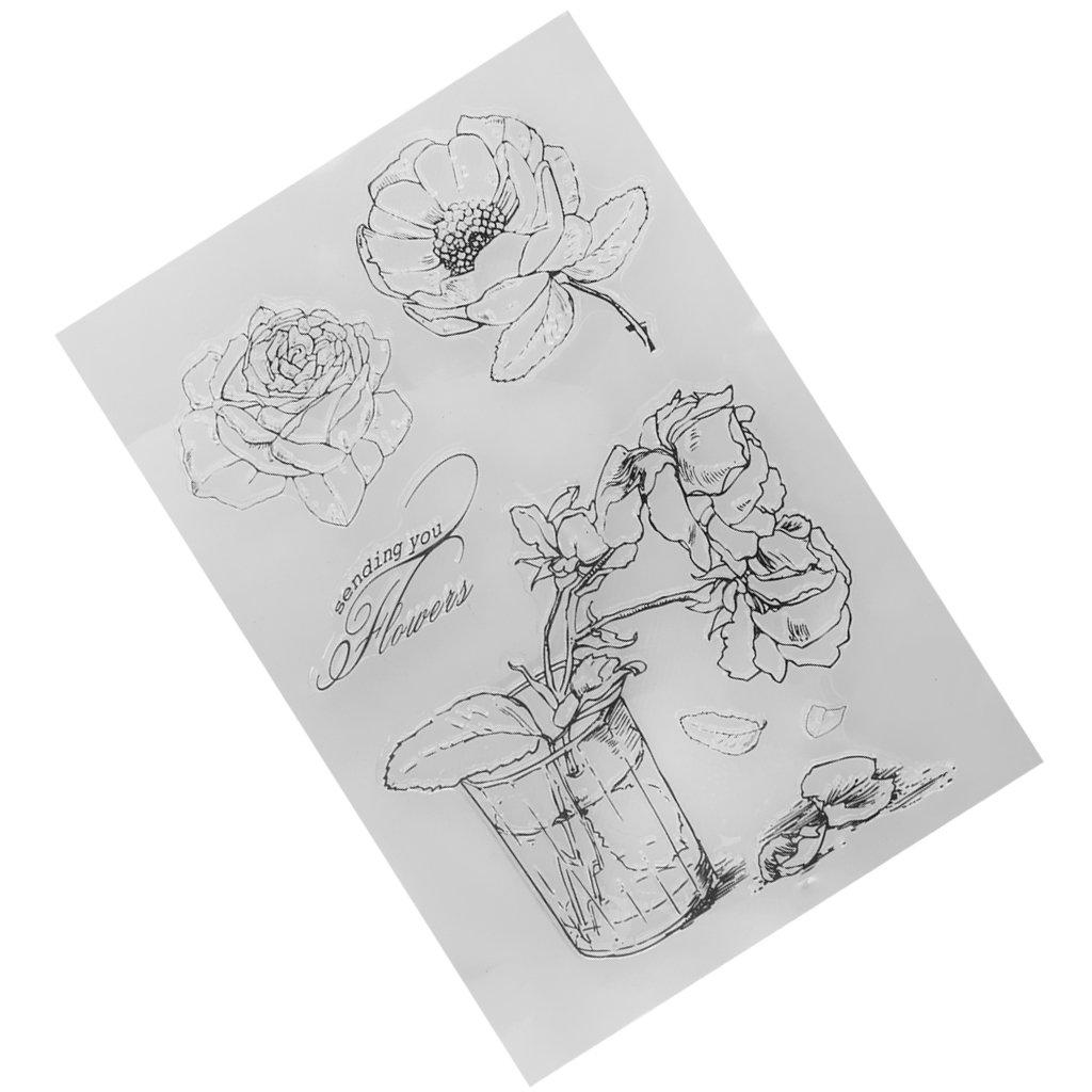 MagiDeal Hoja de Sello de Goma de Silicona Transparente para Tarjeta de Álbum de Recortes de DIY Scrapbooking - 7 #