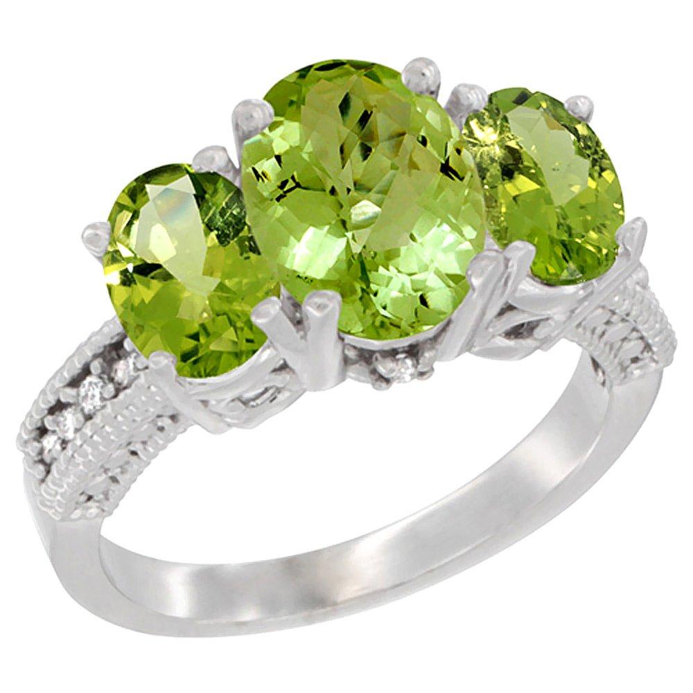10K White Gold Diamond Natural Peridot Ring 3-Stone Oval 8x6mm, size 7