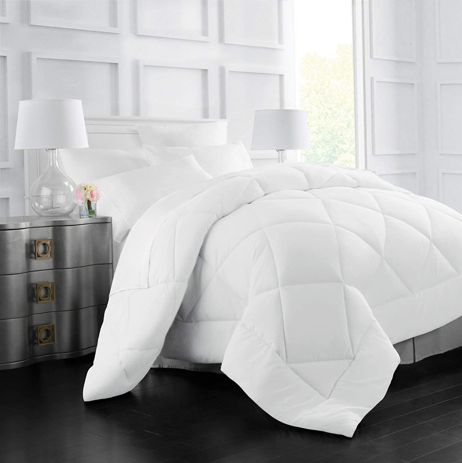 Italian Luxury Goose Down Alternative Comforter - All Season - 2100 Series Hotel Collection - Luxury Hypoallergenic Comforter - Full/Queen - White