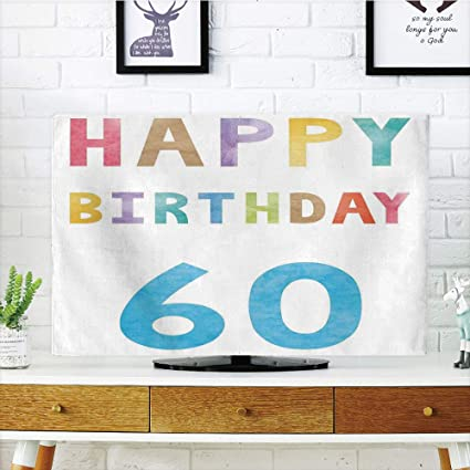 IPrint LCD TV Cover Lovely60th Birthday DecorationsVintage Party Compatible Elder In