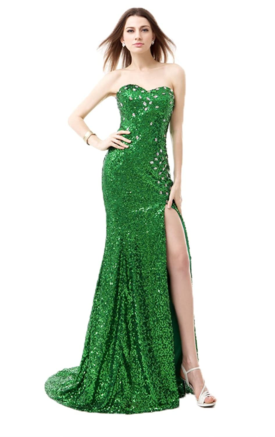 Anna's Bridal Women's Long Sequin Prom Dresses Mermaid Evening Gowns