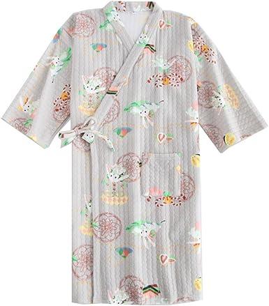 Pijama de Pijama de algodón de Estilo japonés para Mujer de algodón camisón Pijama de Pijama de Kimono para Mujer: Amazon.es: Ropa y accesorios