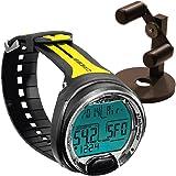 Cressi Leonardo Dive Computer, Scuba Diving Instrument Black / Yellow w/ Watch Stand