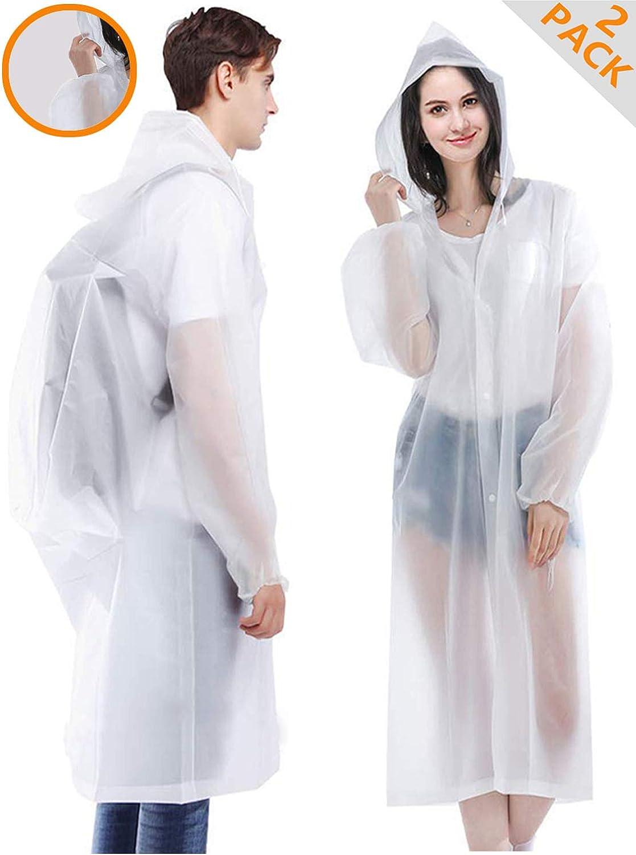 "HLK.Sports Rain Coats, [2 Pack] EVA Reusable Rain Ponchos Raincoats with Hood, Size 59"" by 27.5"""
