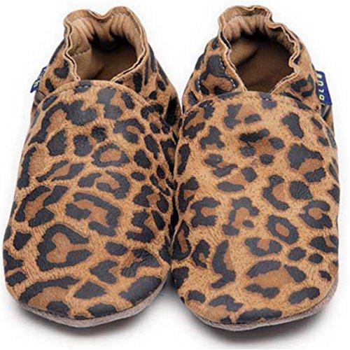 Inch Blue Mädchen/Jungen Schuhe für den Kinderwagen aus luxuriösem Leder - Weiche Sohle - Leopardenfell