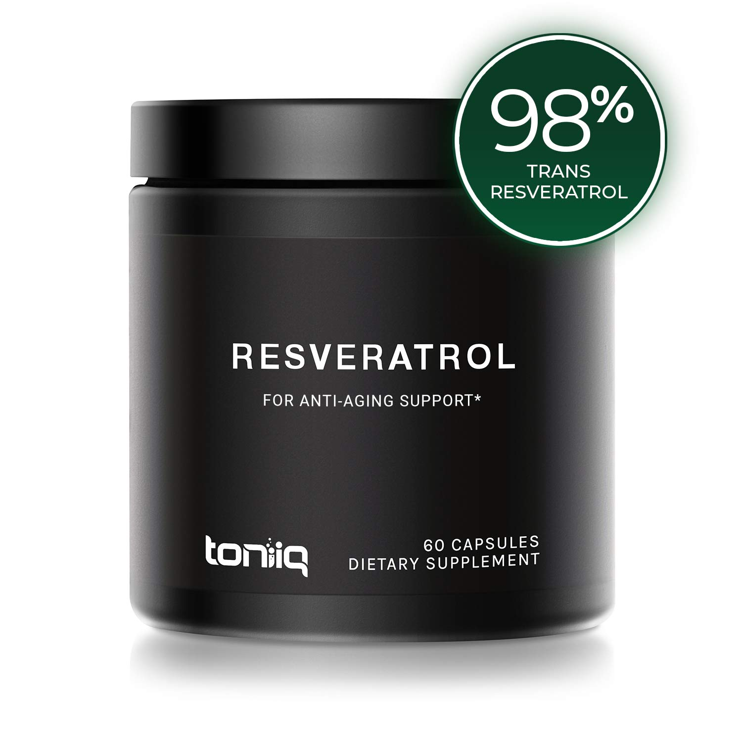 Ultra High Purity Resveratrol Capsules - 98% Trans-Resveratrol - Support for Anti Aging - 60 Caps Reservatrol Supplement by Toniiq