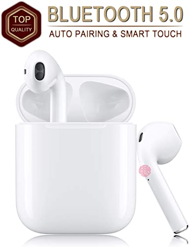 Wireless Earbuds Bluetooth 5.0 Headsets with 12Hrs Charging Case IPX5 Waterproof, 3D Stereo Headphones in-Ear Ear Buds Built-in Mic Earphones, Pop-ups Auto Pairing for Android iPhone Samsung White