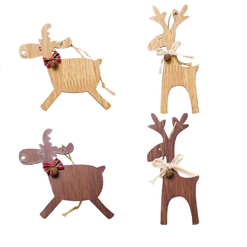 4Pcs Christmas Tree Decorations Hand Made Deer Wooden, Xmas Tree Pendants DIY Ornaments for Christmas Party Arts and Craft (4)