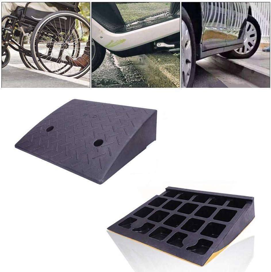 Roboraty Rampas de bordillo de umbral de Goma para automóviles Acceso para discapacitados con Movilidad Reducida, Alfombra para Pendiente al Aire Libre, 11 cm,Black