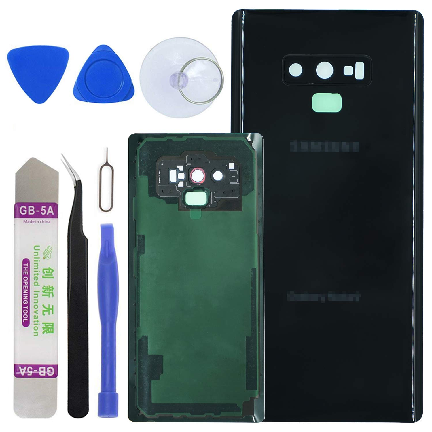 LUVSS Rear Glass Assembly for [Samsung Galaxy Note 9] N960 Back Glass Panel Cover Case Housing Replacement + Camera Lens + Extra Adhesive with Opening Tools Kit (Midnight Black) by LUVSS