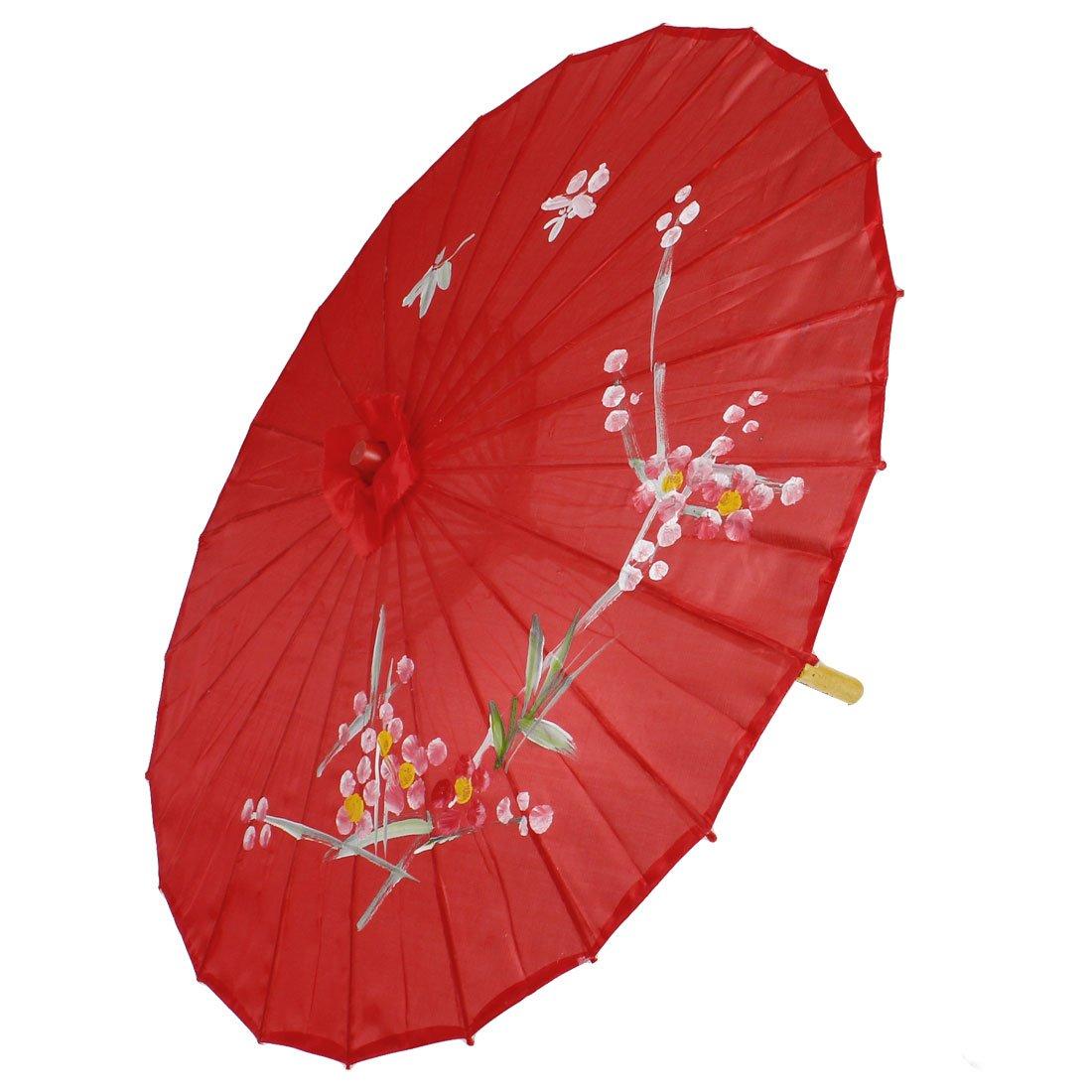 Sombrilla Parasol Oriental Bambú Rojo Flor Ciruela Diámetro 80cm: Amazon.es: Jardín
