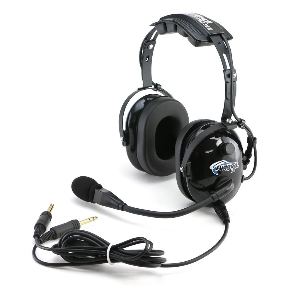 Rugged Air RA200 General Aviation Pilot Headset with GA Dual Plugs and MP3 Music Input by Rugged Air