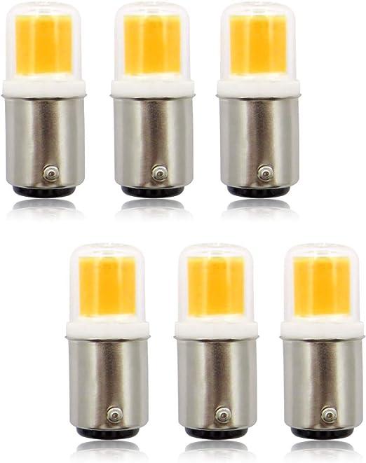 BA15D Bombillas LED, 220 V 4 W COB Pygmy Bombilla, casquillo de bayoneta pequeño, reemplazo de 30 W microondas/campana extractora/nevera/máquina de coser blanco cálido 3000 K SBC Bombilla – Pack de 6: