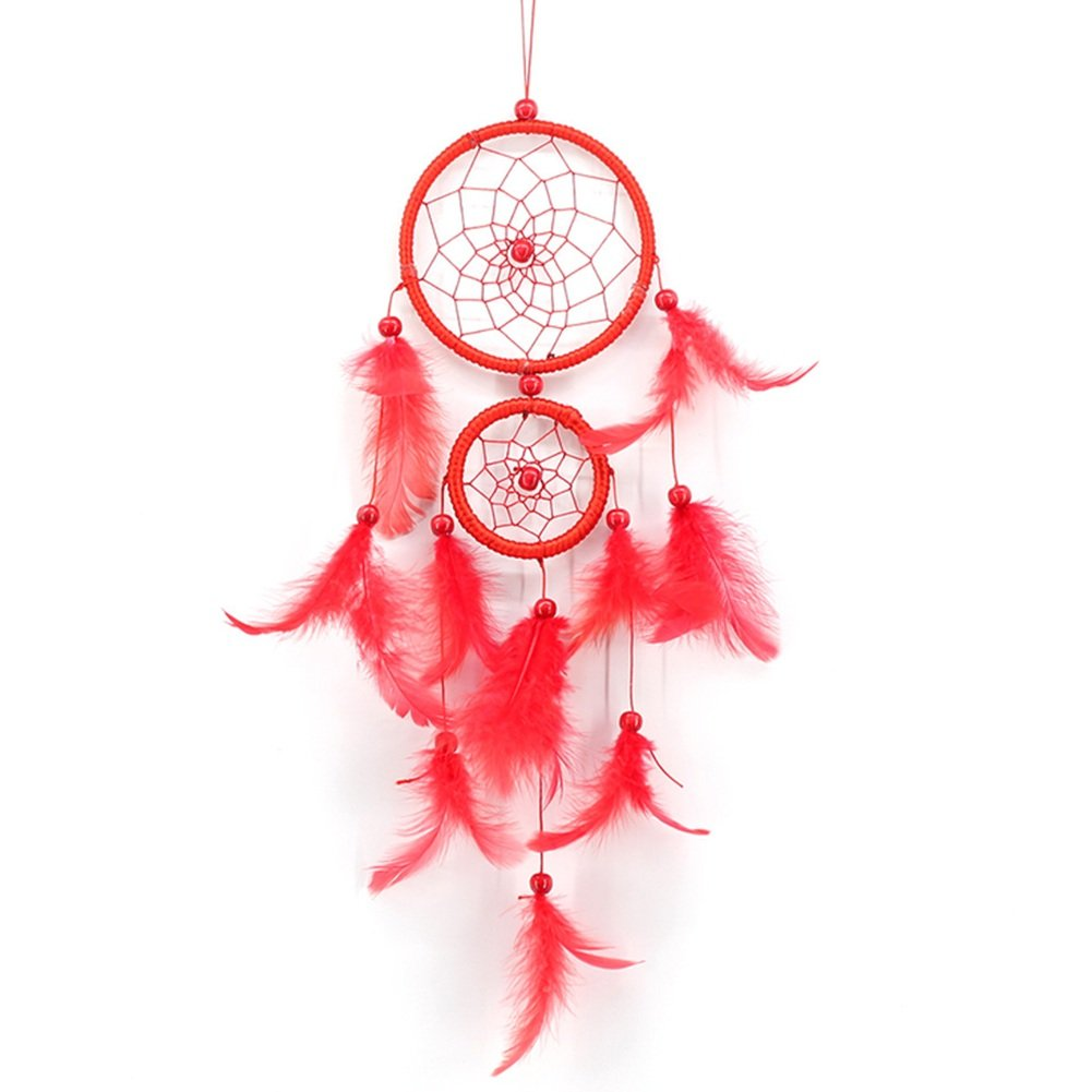 wonderfulwu Double Rings Dream Catcher Net Wall Hanging Decoration Circular Feathers Dreamcatcher Ornament Gift (Blue)