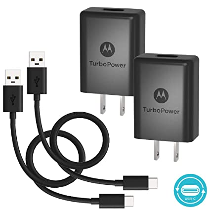 [2 Pack] Motorola TurboPower 15+ QC3.0 Chargers w/ 6.6ft
