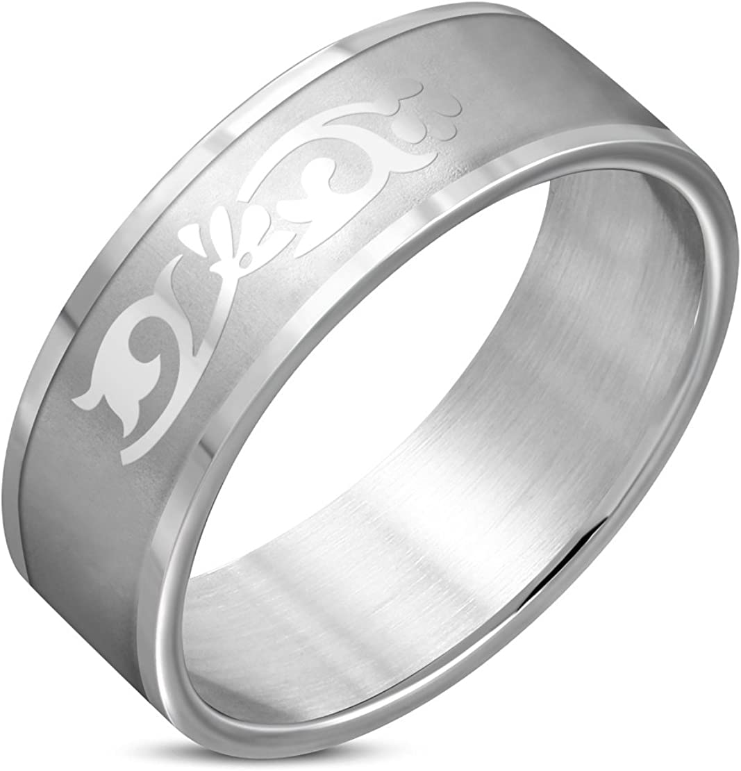 Stainless Steel Matte Finished Tribal Vine Flat Band Ring
