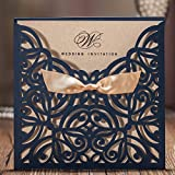 navy blue appliances - Jofanza Wedding Invitations Cards Laser Cut Navy Blue Square Invitation with Bow Lace Sleeve for Engagement Baby Bridal Shower Birthday Quinceanera (set of 50pcs) CW6179B