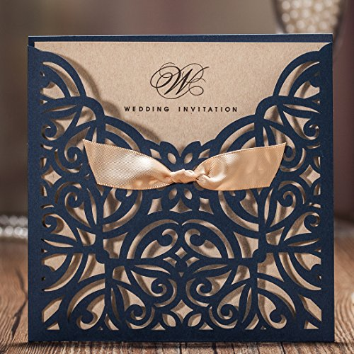 Jofanza Wedding Invitations Cards Laser Cut Navy Blue Square Invitation with Bow Lace Sleeve for Engagement Baby Bridal Shower Birthday Quinceanera (set of 50pcs) (Do It Yourself Shower Invitations)
