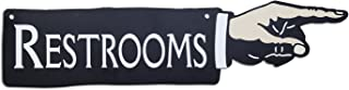 """product image for Surf To Summit Plasma Cut Dibond Aluminum Right Pointing Hand Restroom Sign 20""""W x 5""""H Metal Restroom Sign Bathroom Sign Directional Restroom Sign"""