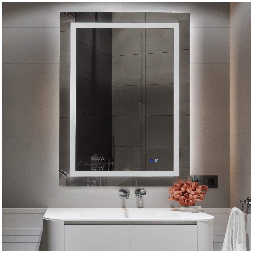 Marabell 32'' x 24'' LED Lighted Bathroom Vanity Mirror with Anti-Fog Function and Dimmable Memory Touch Button - Wall Mounted Vertical or Horizontal by Marbaell
