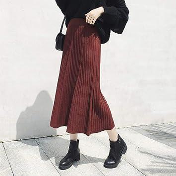 MEILIDE Falda para Mujer Faldas de Punto de otoño e Invierno Retro ...