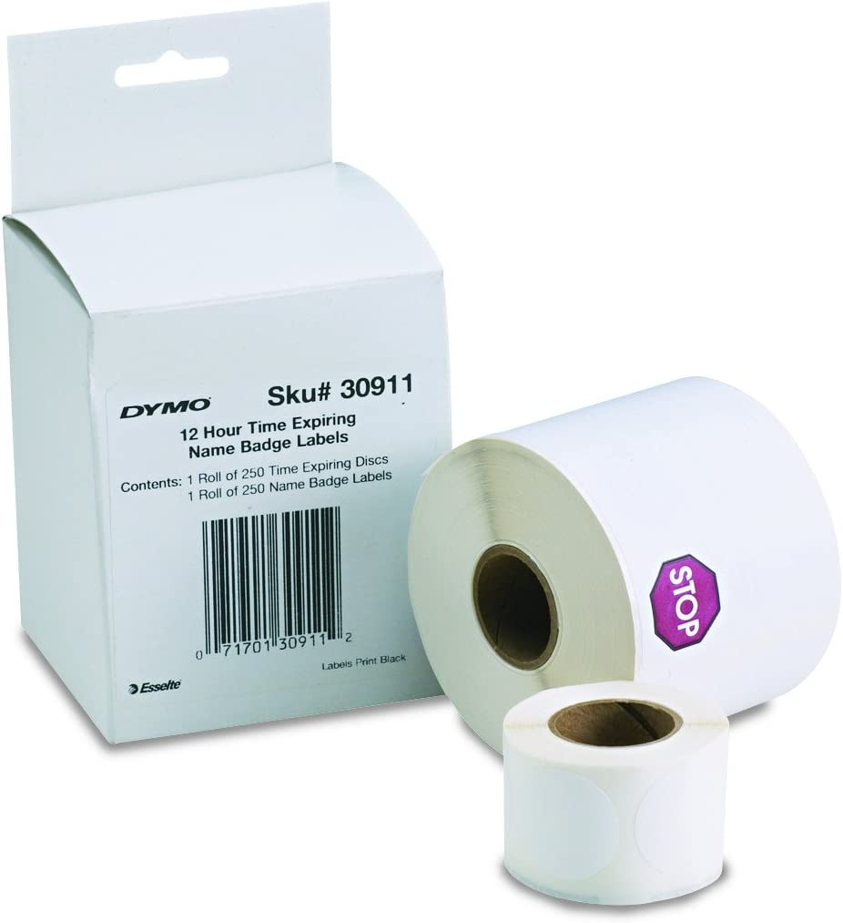 1 roll of 250 2-1//4 x 4 White 1760756 DYMO LW Self-Adhesive Name Badge Labels for LabelWriter Label Printers
