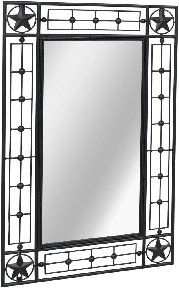 Festnight Miroir Mural Noir en Acier 50 x 80 cm d/écoratif Verre Rectangulaire