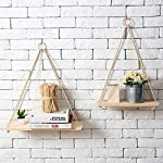 ANZ Products Premium Wood Swing Hanging Rope Wall Mounted Floating Shelves, Set of 2 – Modern Plant Flower Pot Vase Stand Book Shelf Home Decor.
