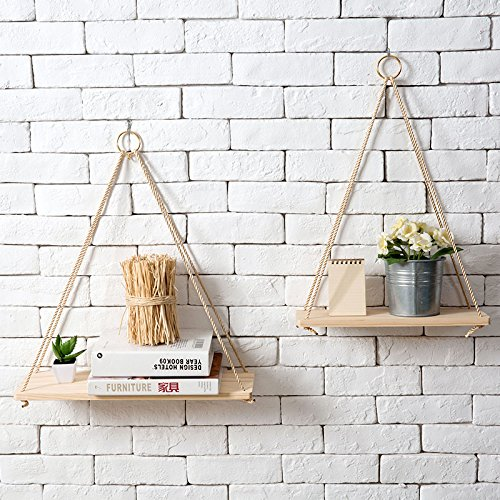 ANZ Products Premium Wood Swing Hanging Rope Wall Mounted Floating Shelves, Set of 2 - Modern Plant Flower Pot Vase Stand Book Shelf Home Decor.
