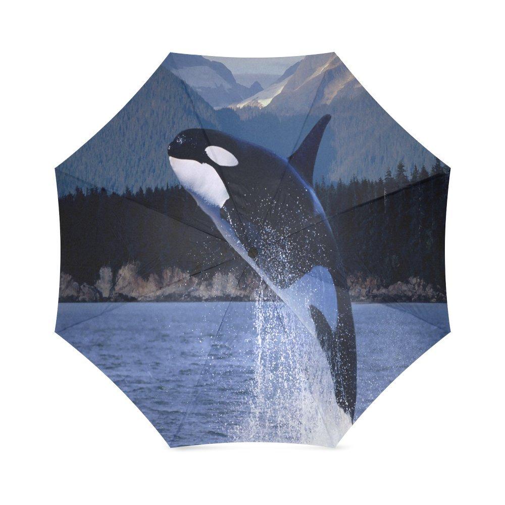 Custom Killer Whale コンパクト旅行用防風防水折りたたみ傘 B075W3G7RW