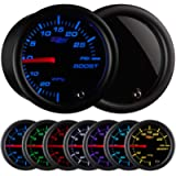 GlowShift Tinted 7 Color 30 PSI Turbo Boost / Vacuum Gauge Kit - Includes Mechanical Hose & T-Fitting - Black Dial…