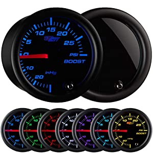"GlowShift Tinted 7 Color 30 PSI Turbo Boost / Vacuum Gauge Kit - Includes Mechanical Hose & T-Fitting - Black Dial - Smoked Lens - For Car & Truck - 2-1/16"" 52mm"