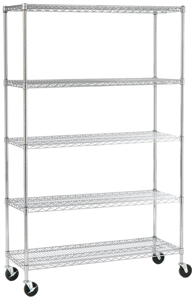 Seville Classics 5-Tier UltraZinc NSF Steel Wire Shelving /w Wheels, 18'' D x 48'' W x 72'' H