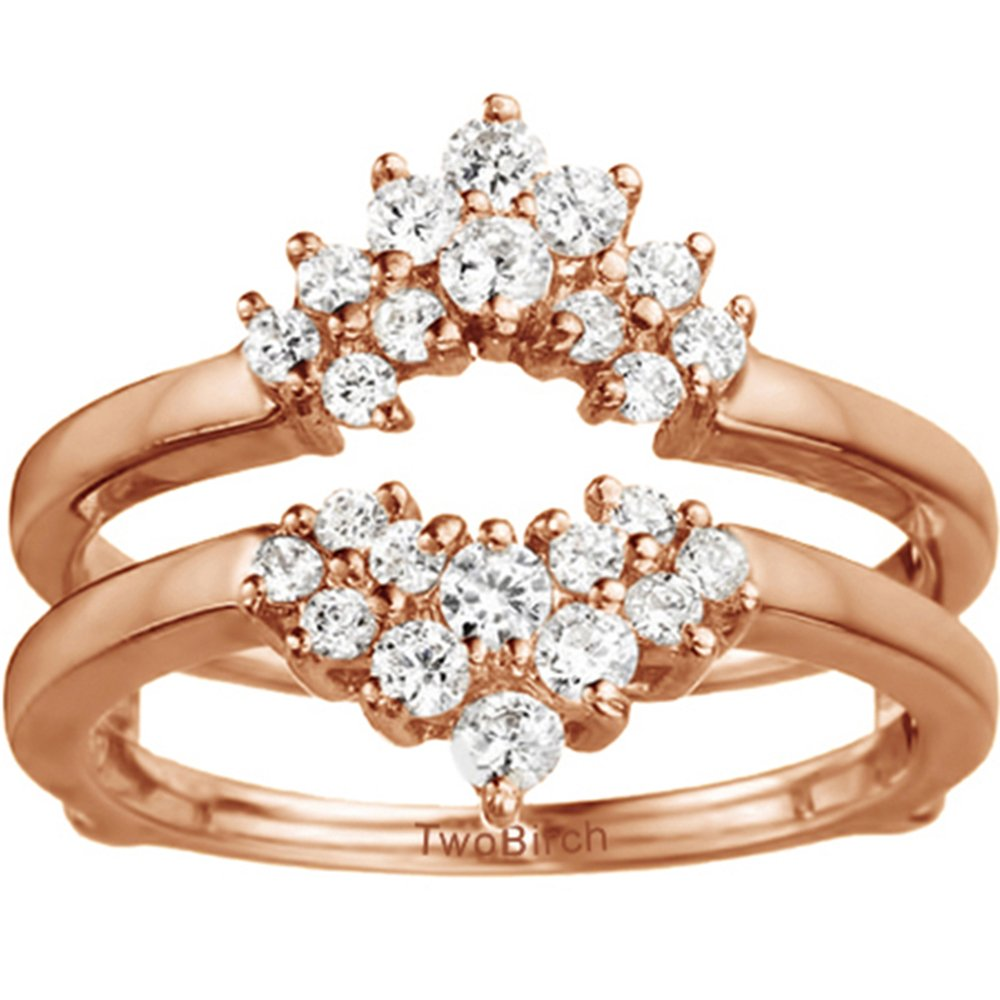 TwoBirch Rose Gold Plated Sterling Silver Double Row Prong Set Ring Guard with Cubic Zirconia (0.37 ct. tw.)